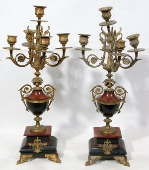 062330 FRENCH GILT BRONZE  MARBLE CANDELABRUM PAIR