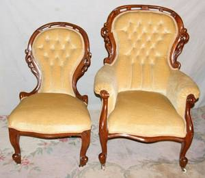 111443 VICTORIAN WALNUT CHAIRS TWO C 1850