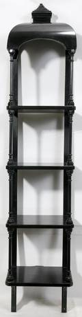 080369 SPANISH LACQUERED WOOD WALL SHELF H 46 W 9