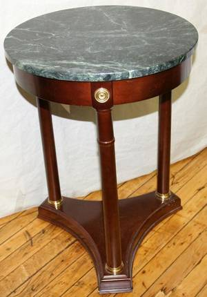 080365 EMPIRE STYLE MAHOGANY ROUND TABLE WMARBLE TOP