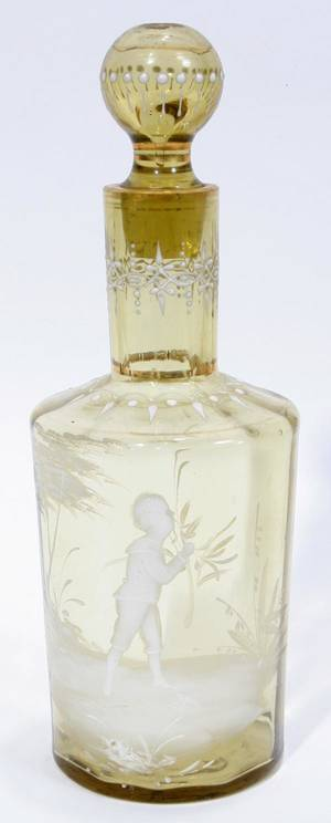 071337 MARY GREGORY GLASS COLOGNE BOTTLE 19TH C H 8