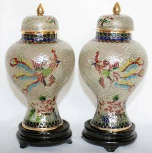 091429 CHINESE PLIQUE A JOUR GINGER JARS PAIR H 6
