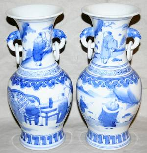 091424 CHINESE PORCELAIN VASES PAIR H 9