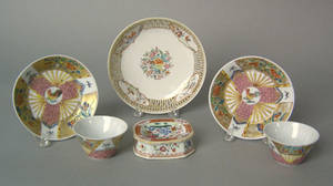 Pair of small Chinese export teacups and saucers late 18th c