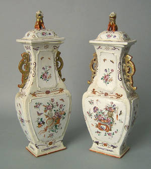 Pair of Chinese export porcelain garnitures late 18th c