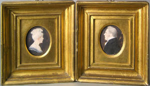 Pair of watercolor on ivory profile portraits of a husband and wife early 19th c