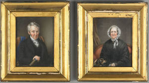 Pair of watercolor on ivory portraits of a husband and wife mid 19th c