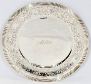 081388 R WALLACE  SONS STERLING SERVING PLATE