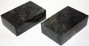 072359 CHINESE SPINACH JADE BOXES TWO H 2 L 5