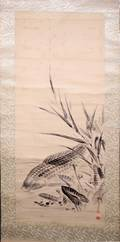 071381 JAPANESE INK ON PAPER HANGING SCROLL 39 X 15