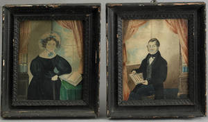 Pair of watercolor portraits of a husband and wife early 19th c