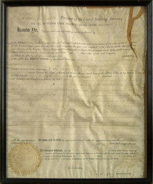 Thomas Jefferson signed land grant dated 1807