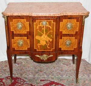 062397 FRENCH INLAID FRUITWOOD MARBLE TOP COMMODE