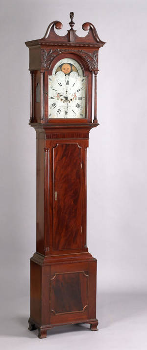 Reading Pennsylvania Chippendale mahogany tall case clock late 18th c