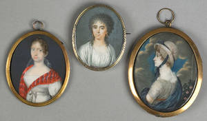 Three watercolor on ivory miniature portraits of women earlymid 19th c