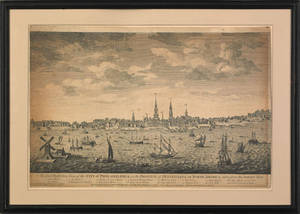 Engraving titled An East Perspective View of the City of Philadelphia