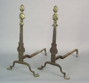 Pair of knife blade andirons late 18th c