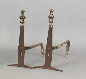 Pair of English brass and wrought iron andirons ca 1700