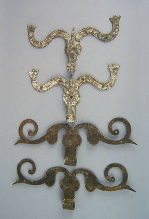 Two pair of wrought iron rams horn hinges 18th c