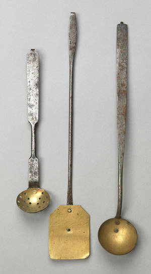 Three brass and wrought iron utensils 19th c