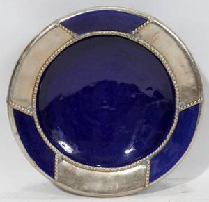 080465 COBALT BLUE GLAZED POTTERY DISH H 2 DIA 8
