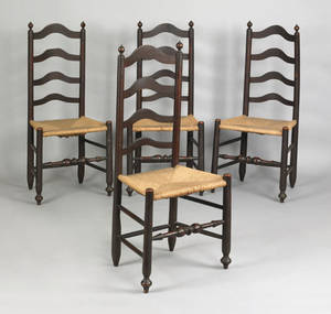 Set of 4 Pennsylvania ladderback side chairs ca 1760