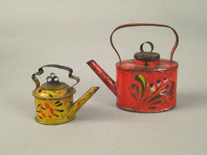 Two miniature toleware kettles 19th c