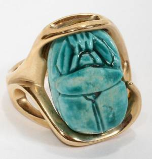 111549 14KT YELLOW GOLD RING SET WBLUE CERAMIC SCARAB