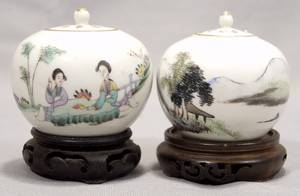 CHINESE PORCELAIN TEA JARS 20TH C TWO