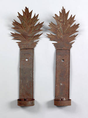 Pair of tinned sheet iron sconces early 19th c