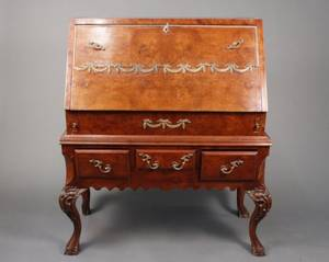 19th C Burled Walnut Slant Top Fall Front Desk