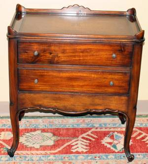 111590 COUNTRY FRENCH WALNUT TWO DRAWER END TABLE