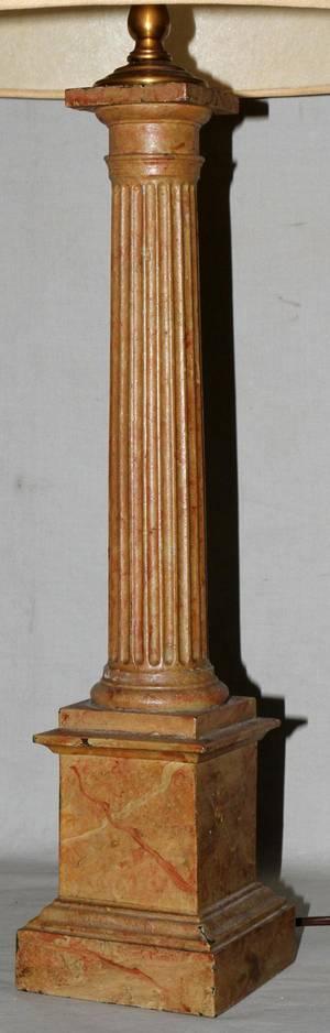 111586 WOOD COLUMNAR TABLE LAMP H 32