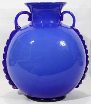 110507 ITALIAN BLUE GLASS DOUBLEHANDLED VASE