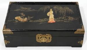 ORIENTAL WOOD AND HARD STONE JEWELRY BOX