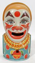 070513 J CHEIN  CO TIN CLOWN COIN BANK H 5