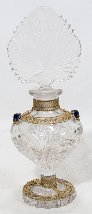 062514 ART DECO GLASS PERFUME BOTTLE H 10 DIA 3 12