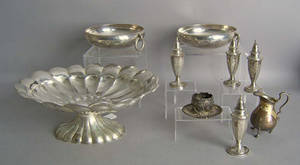 Silver table articles to include a pair of Mexican bowls