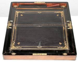 111032 ENGLISH WALNUT LAP DESK WITH BRASS TRIM C 1840