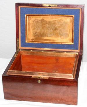 111030 ALFRED DUNHILL MAHOGANY CIGAR BOX WITH COPPER