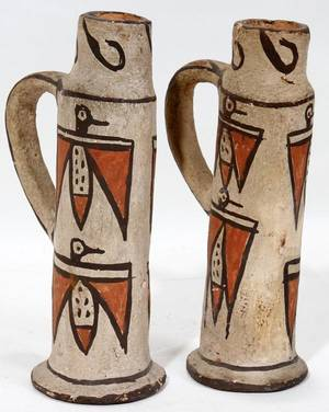 SOUTHWEST AMERICAN INDIAN POTTERY CANDLESTICKS