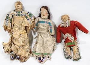 AMERICAN INDIAN BEADED HIDE  CLOTH DOLLS 3