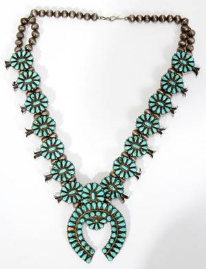 ZUNI SILVER  TURQUOISE SQUASH BLOSSOM NECKLACE