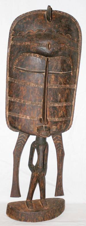 090053 AFRICAN WOOD FIGURAL SCULPTURE H 37 W 12