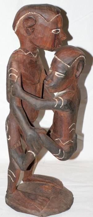090049 AFRICAN CARVED WOOD EROTIC SCULPTURE H 23 12