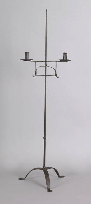 Wrought iron doublearm candlestand