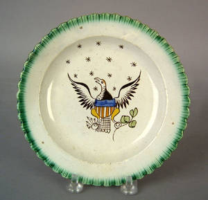 Leeds green feather edge plate early 19th c