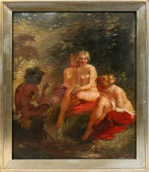 072018 LUDWIG BANG OIL ON CANVAS FEMALE NUDES WSATYR