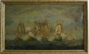 British oil on canvas seascape