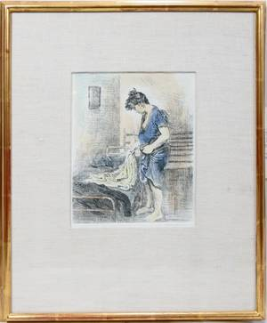 061046 RAPHAEL SOYER HANDCOLORED ETCHING 9 34 X